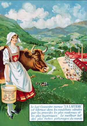 150320 Nestle & Anglo-Swiss, Condensed Milk a milkmaid leant on a cow in mountain meadow over a valley and a condensed milk factory, ca. 1920, CH AHN CSP5 D.4.1-HI100252 a4.jpg